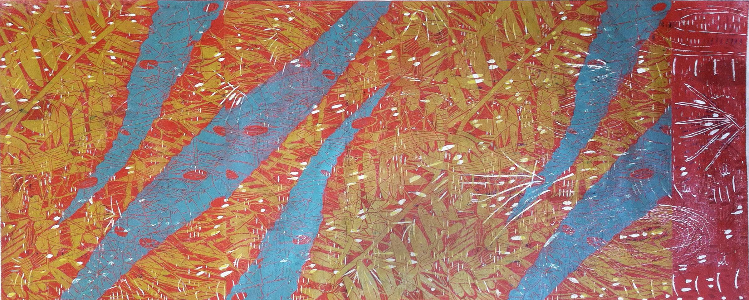 """Blue Ferns,"" 2013, 1/1  woodcut print on Japanese paper  28"" x 65 1/2"""