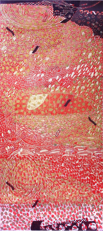"""Wishing Well,"" 2014, 2/2  woodcut print on Japanese paper  73 1/4"" x 27 3/4"""