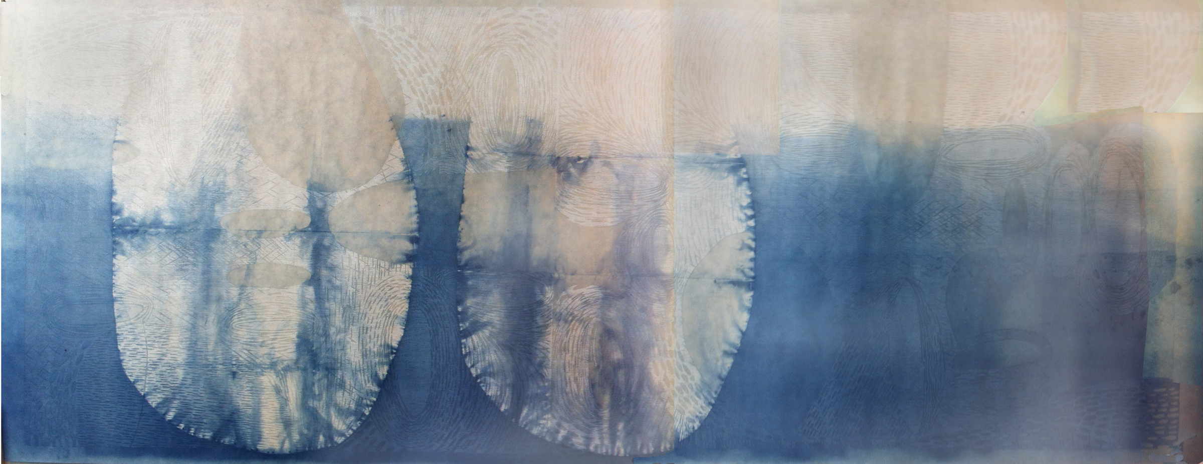 """""""Two Forms,"""" 2012 1/1  woodcut print on Japanese paper with indigo dye  27 1/2"""" x 72 1/2"""""""