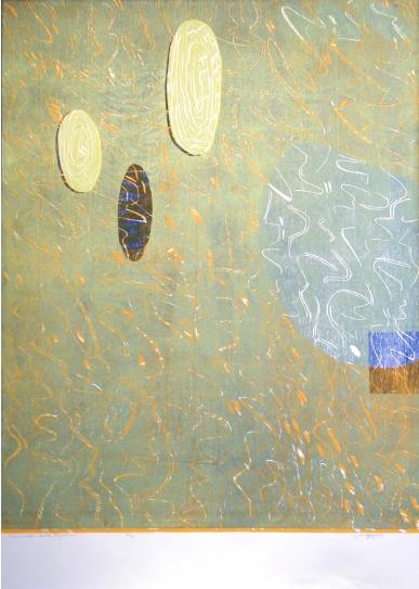 """""""Conversation at the Lagoon,"""" 2013 2/2  woodcut print  43 1/4"""" x 31 3/8"""""""