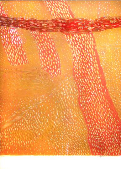 """Red Trees,"" 2014 1/2  woodcut print  43 1/4"" x 31 3/8"""