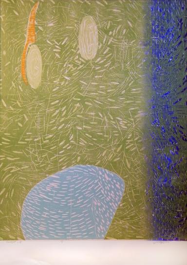 """Twilight-B,"" 2014 1/1  woodcut print  43 1/4"" x 31 3/8"""