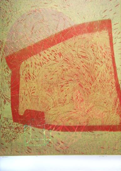 """Window,"" 2012 2/4  woodcut print  43 1/4"" x 31 3/8"""