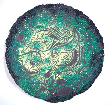 "Dragon Moon    , 2008   mixed media on handmade paper  25 1/2"" diameter"