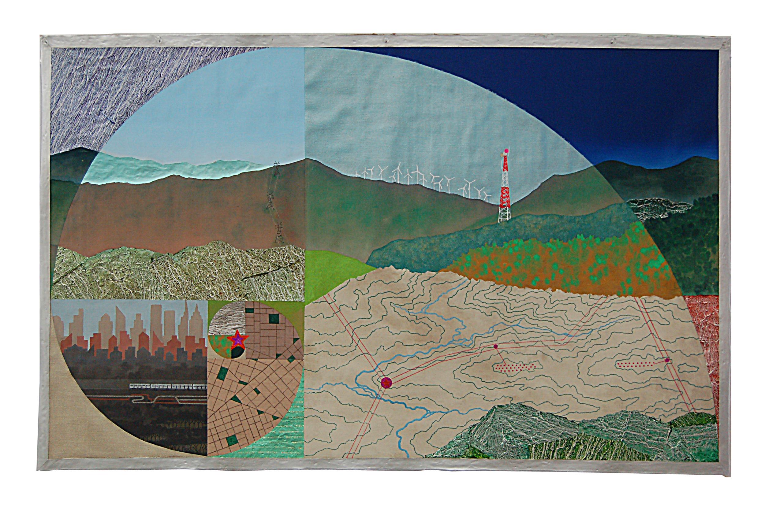 """Fibonacci Landscape  , 2013  mixed media on unstreched canvas  27"""" x 43"""""""