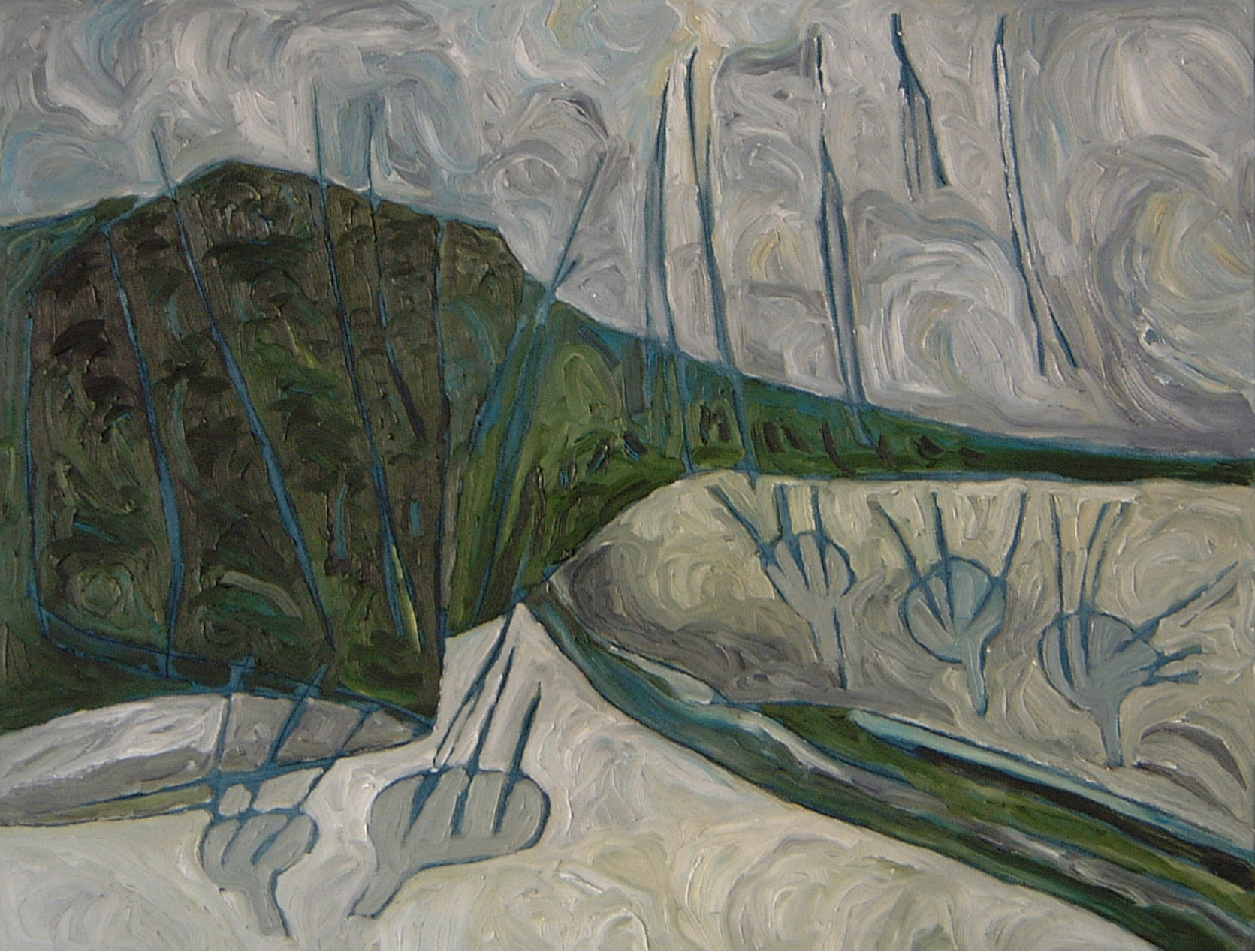 "Green Mountain  , 2006  oil on canvas  32 1/2"" x 42 1/2"""