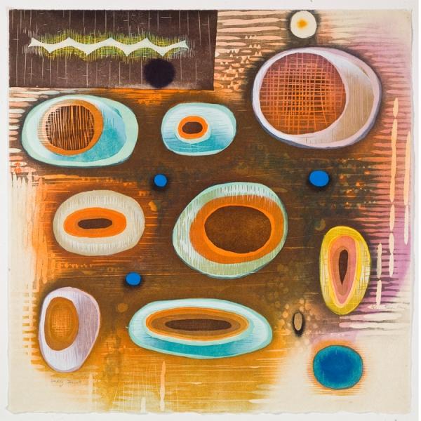 "Seeding Jewels  , 2008  woodcut (10/40)  24 1/4"" x 24 1/4"""