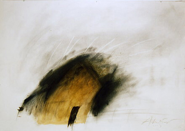 "Cathedral I  , 2003  pencil, graphite, ink, barn paint powder, shellac, on paper  32"" x 45"""