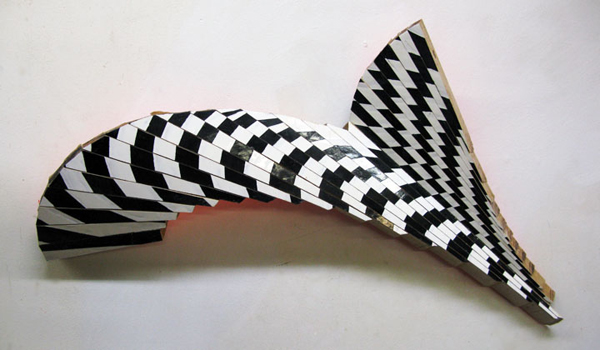 "New Venture Piece #13 (study)  , 2012  enamel on american beechwood  11 1/2"" x 21 1/2"" x 3 1/4"""