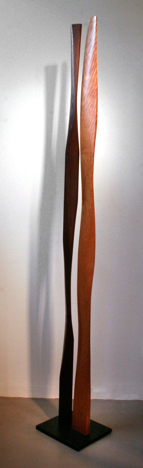 "Gracious Duo  , 2008  paperstone, cherry, wenge  97"" x 14"" x 12"""