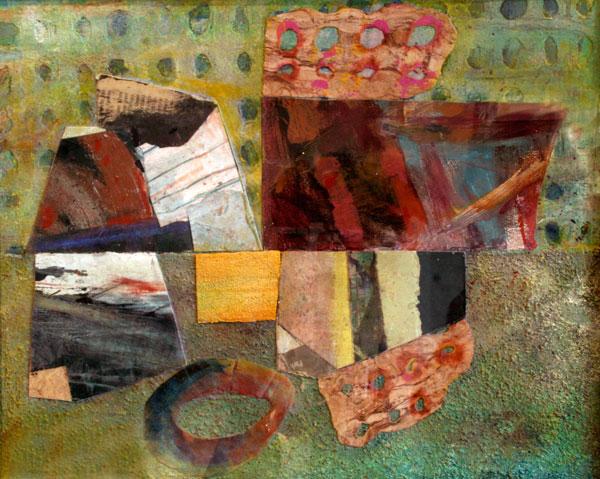 "Scherzo  , 2014  mixed media collage  21 1/2"" x 23 3/8"""