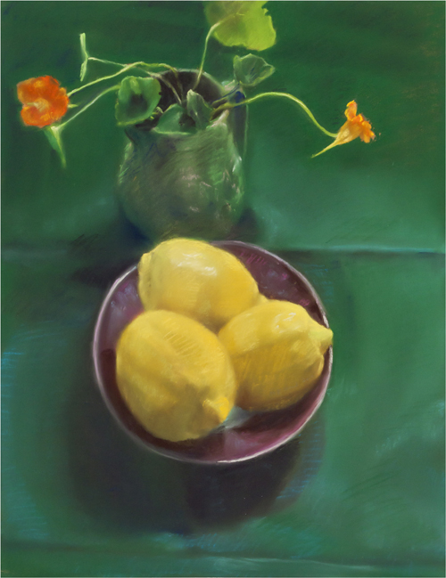 "Lemons and Green  , 2010  pastel on paper  34 7/16"" x 28 1/2"""