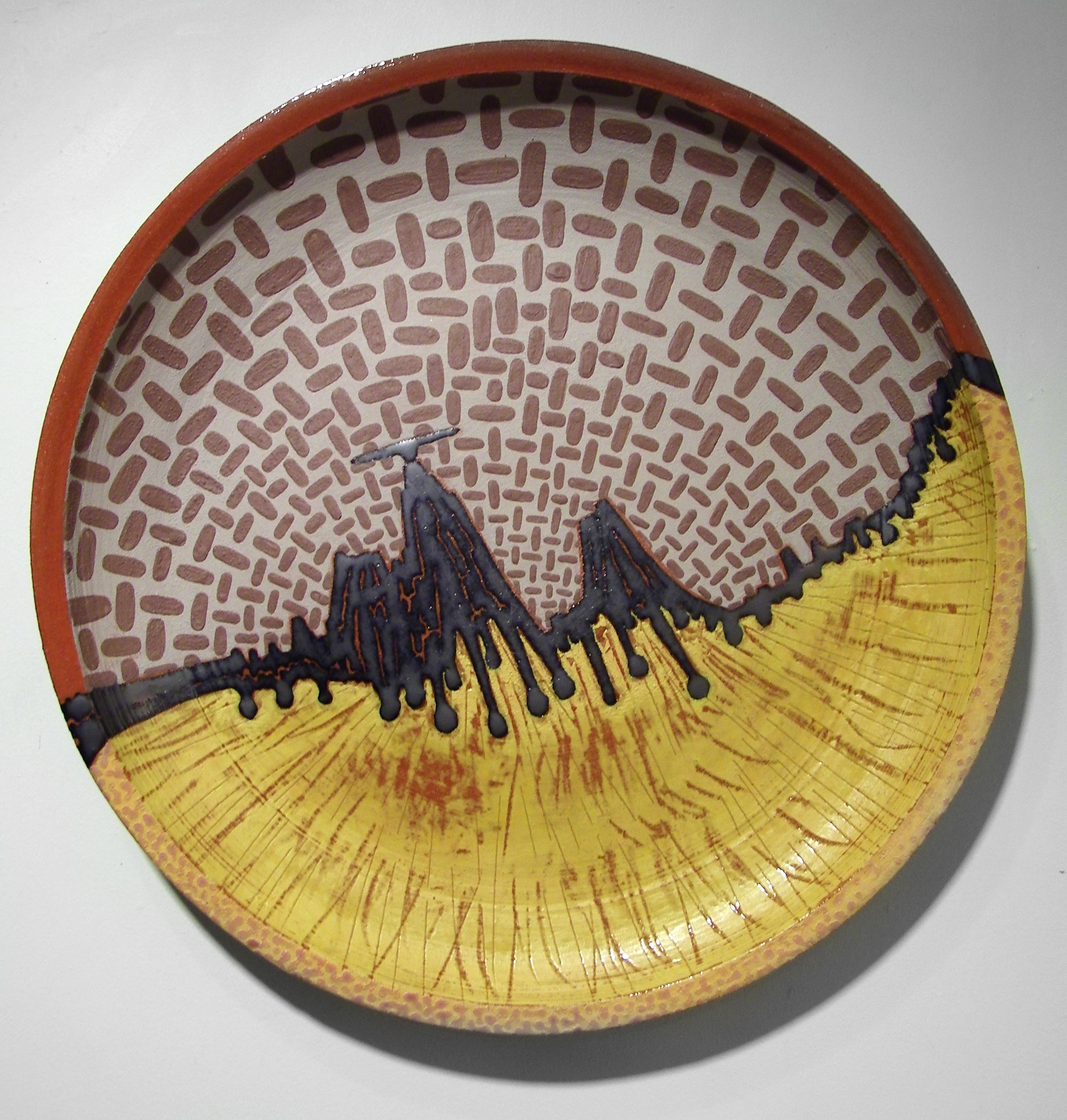 "Mexican Hat Encounter  , 2008  ceramic  16 5/8"" diameter x 2 1/8"""