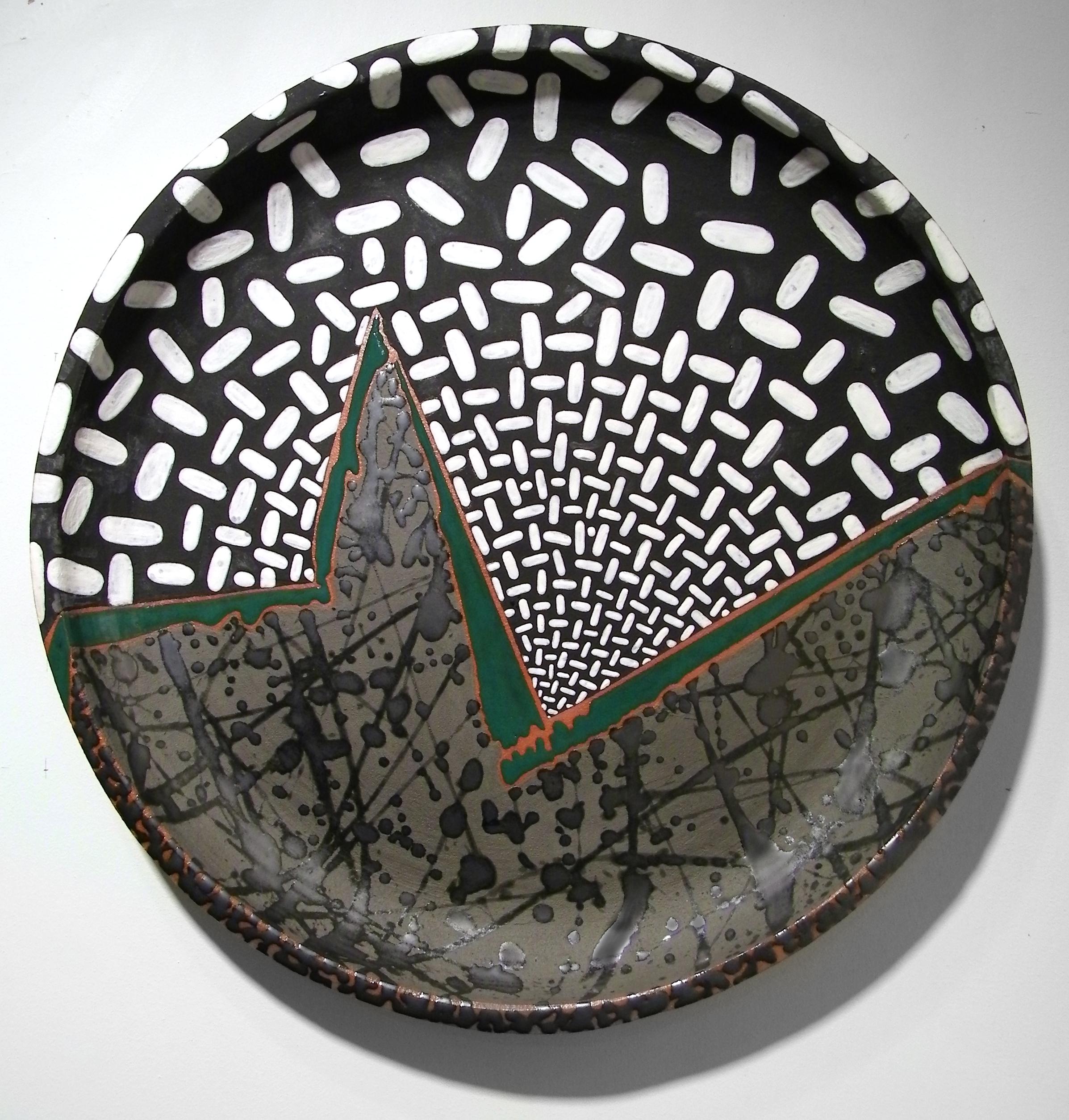 "Emerald Landscape  , 2008  ceramic  18"" diameter x 2 1/2"""