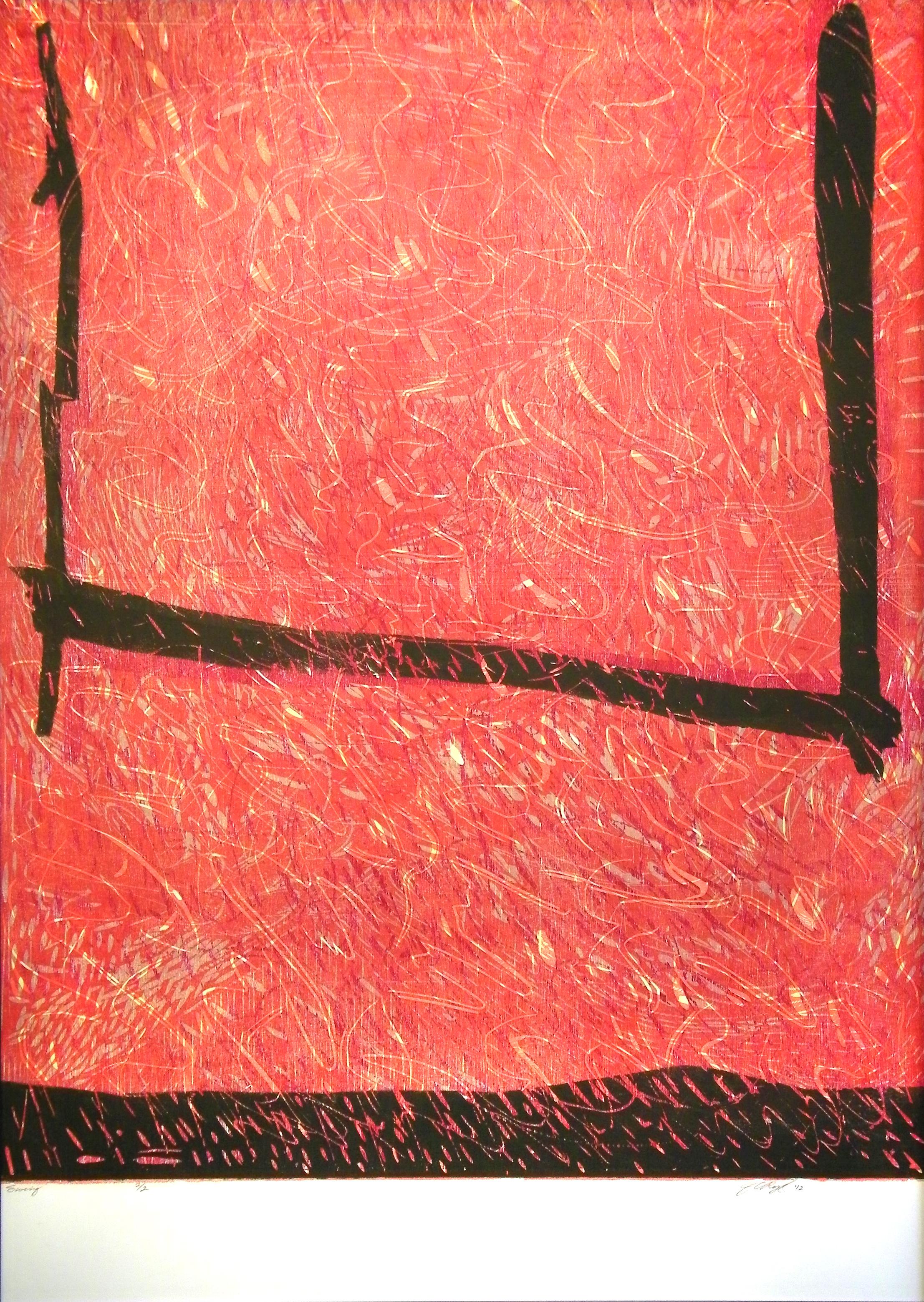"Swing  2012  woodcut print (2/2)  43 1/4"" x 31 3/8"""