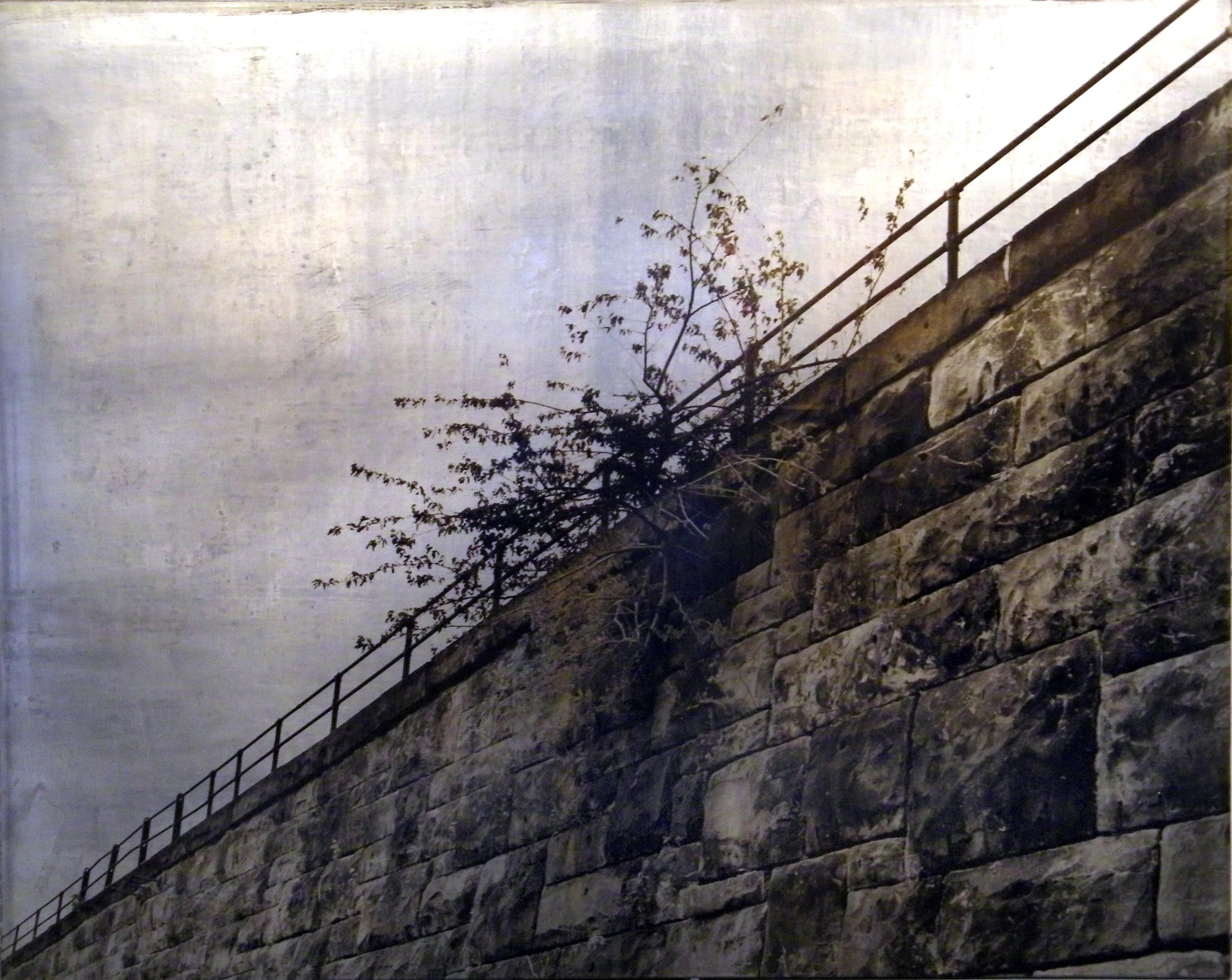 "Carl Goldhagen    Natural Bridge  , 1992  photo emulsion on lead, 1/2  29 3/8"" x 37"