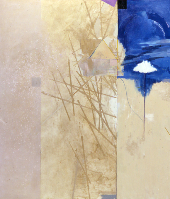 "Doug Salveson    Garden Wall 156  , 1991  oil on canvas  77 1/8"" x 67 1/8"""