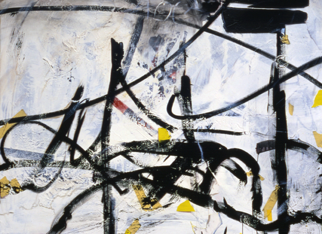 "Kirk Pedersen    Florence  , 2005  acrylic, tape, paper on canvas  56"" x 72"""