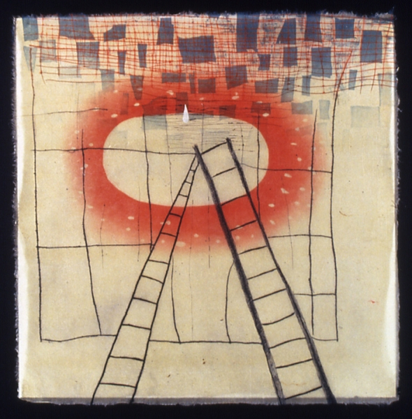 "Karen Kunc    Left Ladder  , 2003  etching and woodcut, 7/7  21 3/4"" x 21 3/4"""
