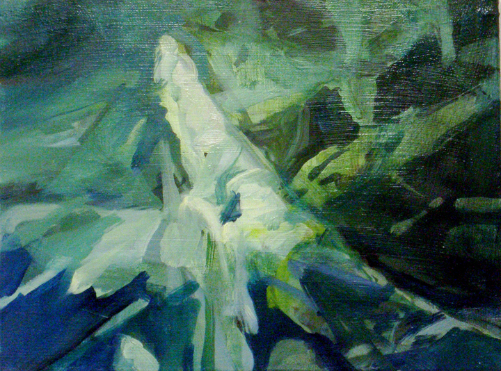 "Elizabeth Thach    Premontory  , 2010  oil and acrylic on canvas  10 3/16"" x 13 1/8"""