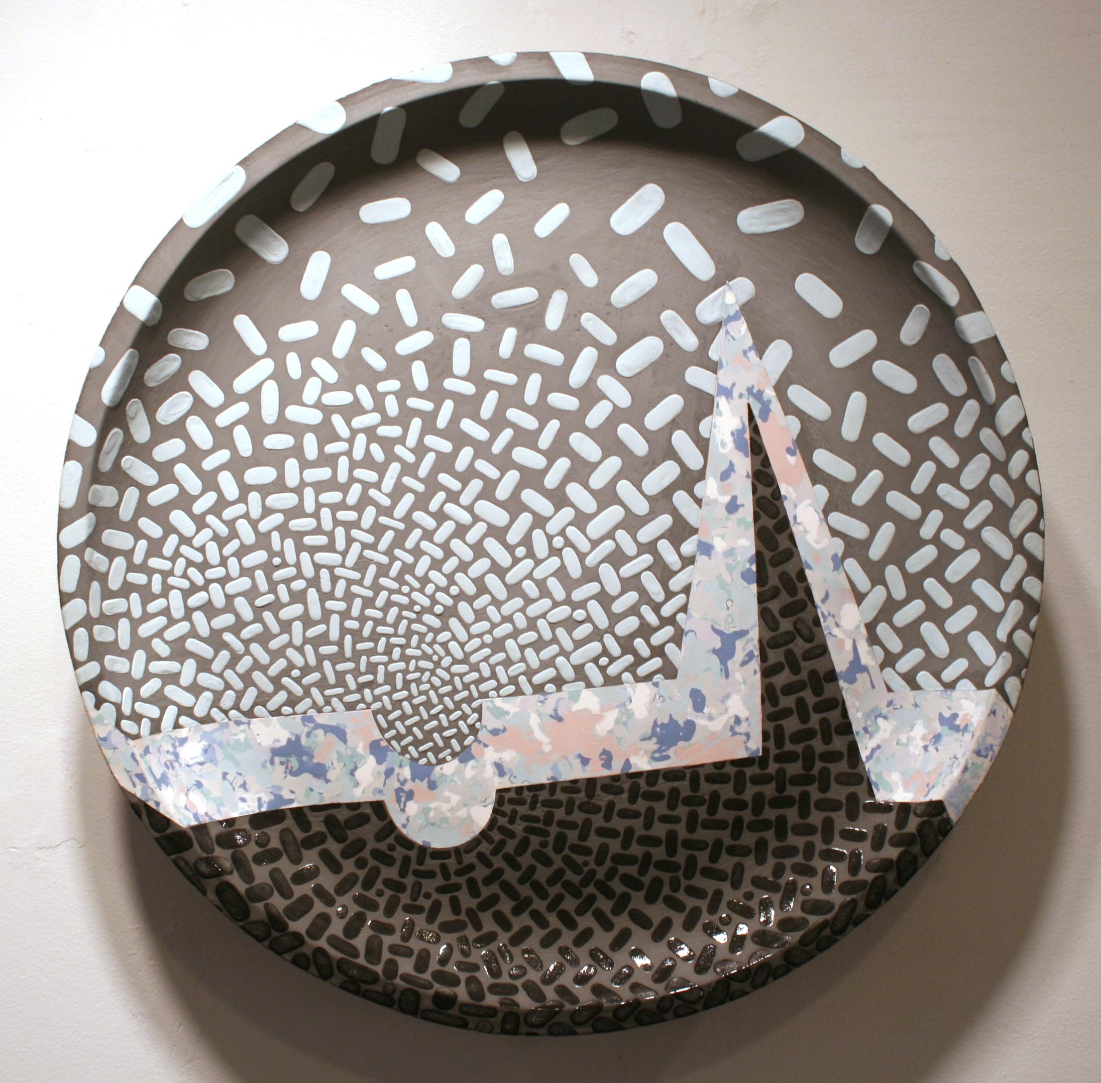 """William Yonker    Blue Landscape with Moonbite  , 1995  ceramic  19 3/8"""" diameter x 4"""""""