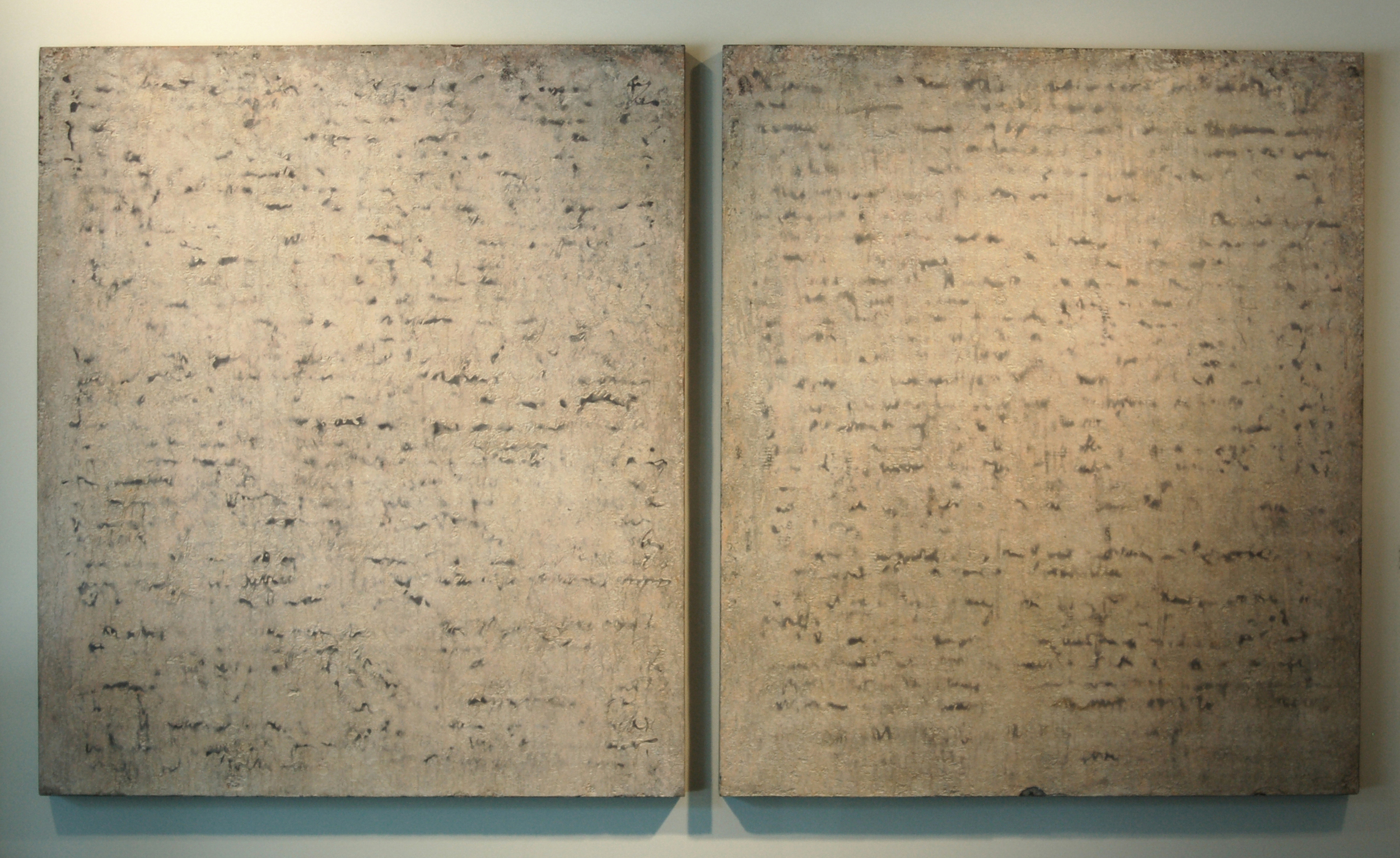 """Randall Shiroma    The Promise  , 2000  terrazzo on panel (diptych)  48"""" x 83"""""""