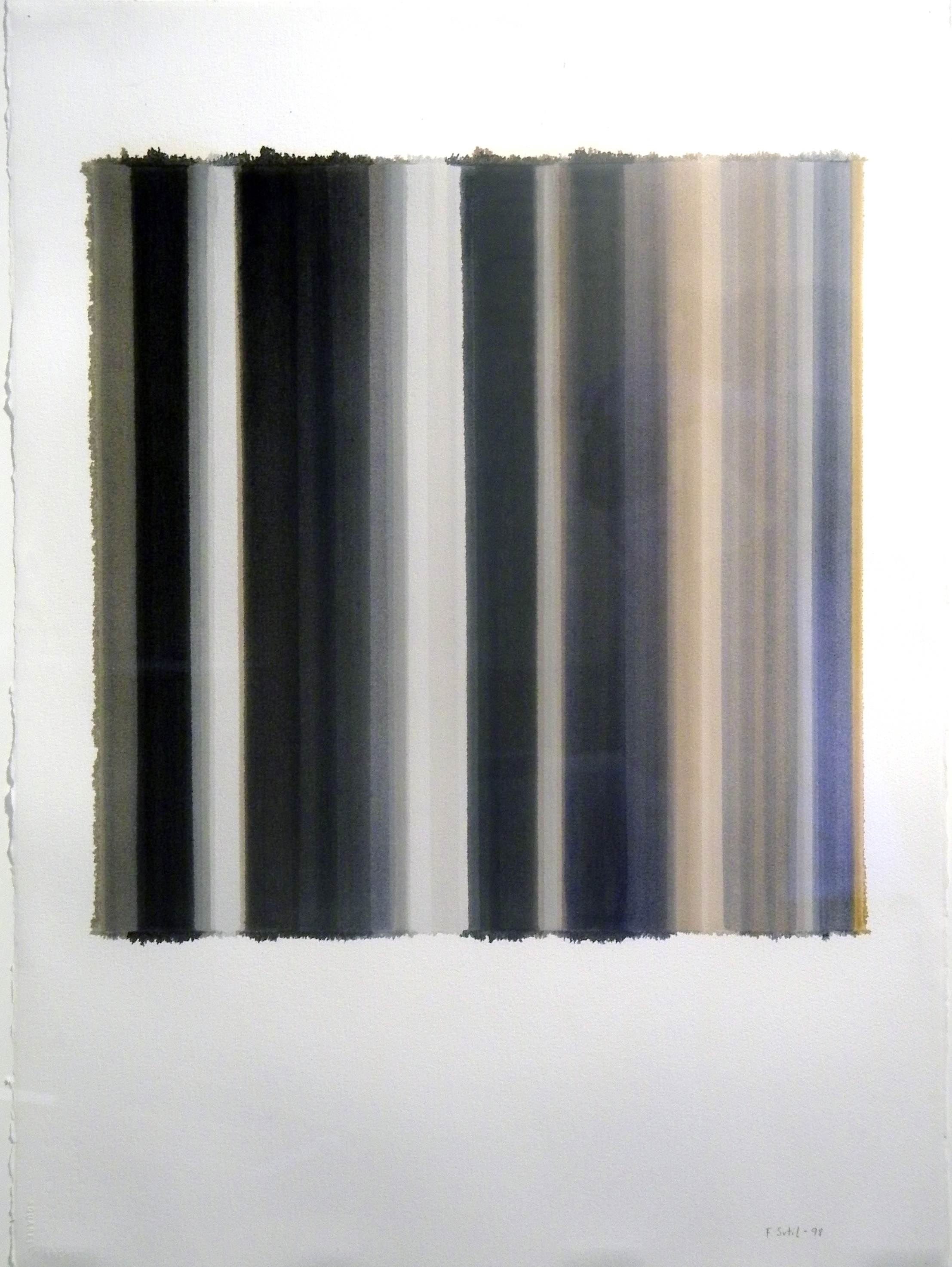 """Francisca Sutil    Untitled - Spaces  , 1998  oil a l'essence on paper  33 3/4"""" x 25 7/8"""""""