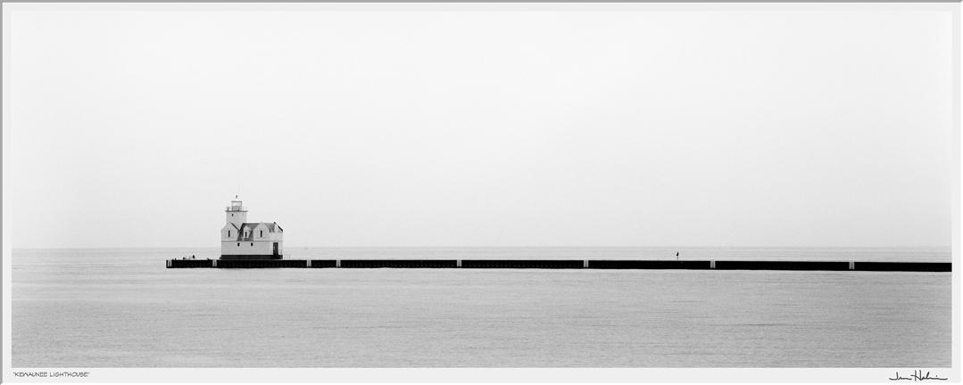"""Kewaunee Lighthouse,"" 1999  black and white photograph, print #60  23 1/8"" x 41 1/4"""
