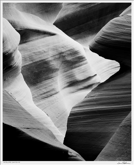 """Antelope Canyon #3,"" 2000  black and white photograph, print #2  35 1/8"" x 31 1/8"""