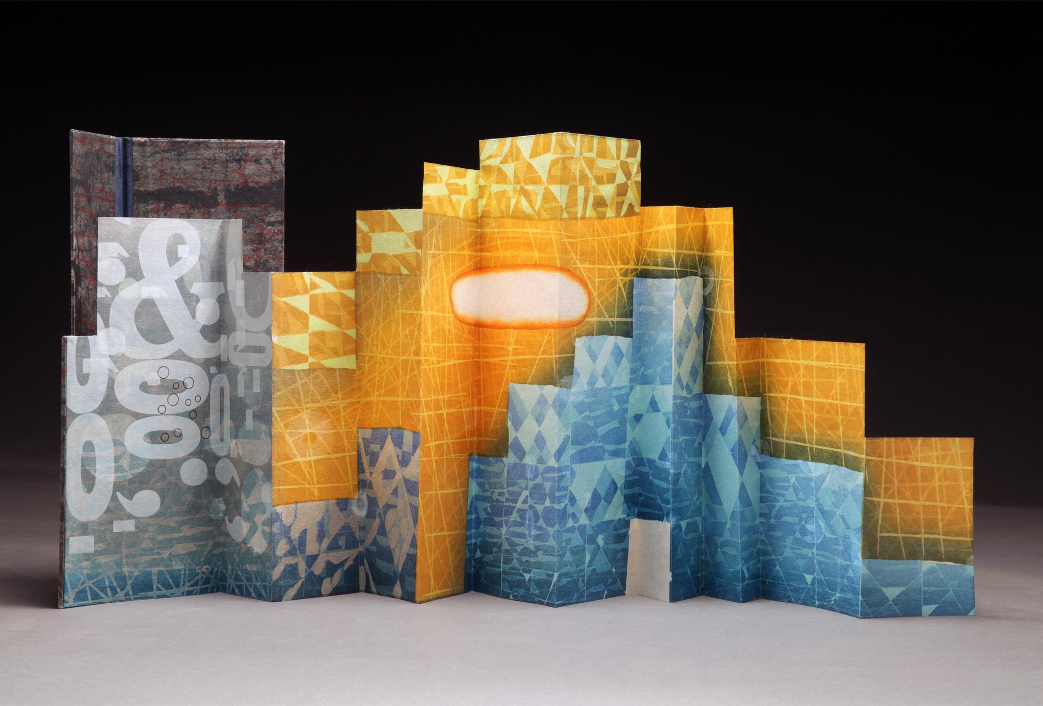 "Karen Kunc, ""Incessant White Noise,"" 2013  woodcut print artist book, 5/10  11"" x 35"""