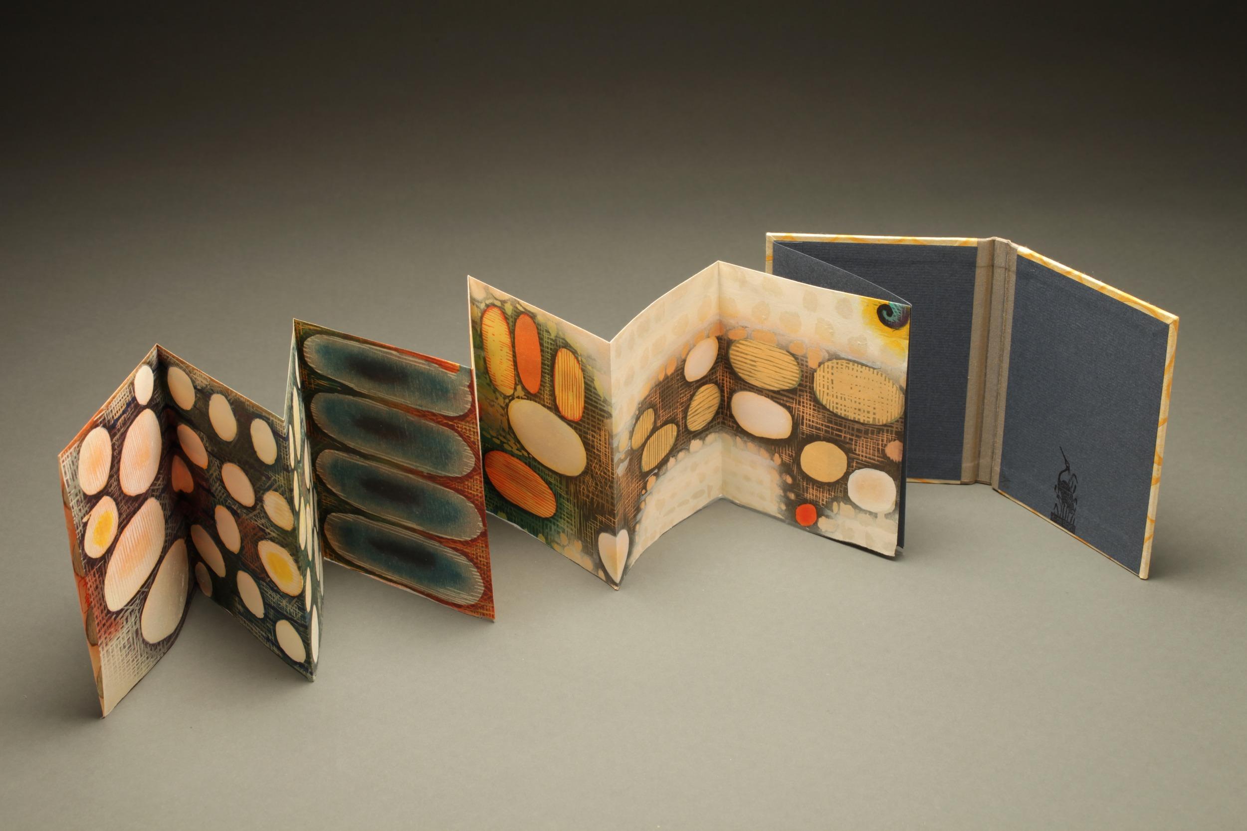 """Karen Kunc, """"Vastness,"""" 2013-14  woodcut print artist book, 19/20  5 1/4"""" x 37"""""""