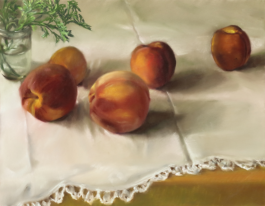 "Mary Joan Waid, ""Pattie's Peaches,"" 2013  pastel on paper  27 1/2"" x 33 1/2"""