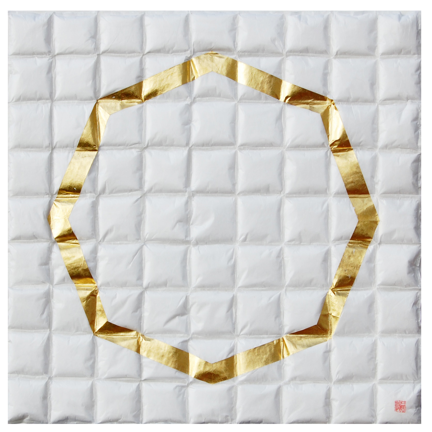 "Lore Bert, ""Octagon in Gold,"" 2014  transparent with Japanese paper and gold leaf  24 1/4"" x 24 1/4"""