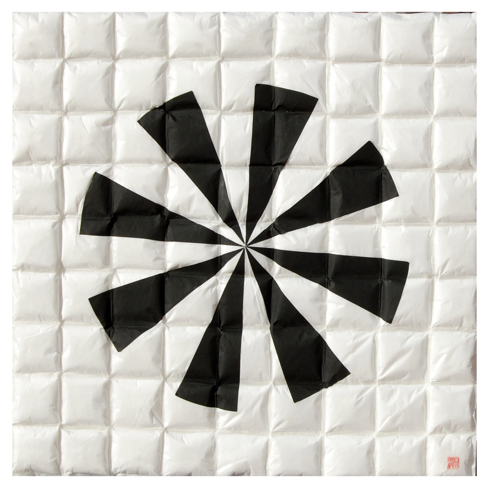 "Lore Bert, ""Windmill 2 (in White),"" 2014  transparent with Japanese paper  24 1/4"" x 24 1/4"""