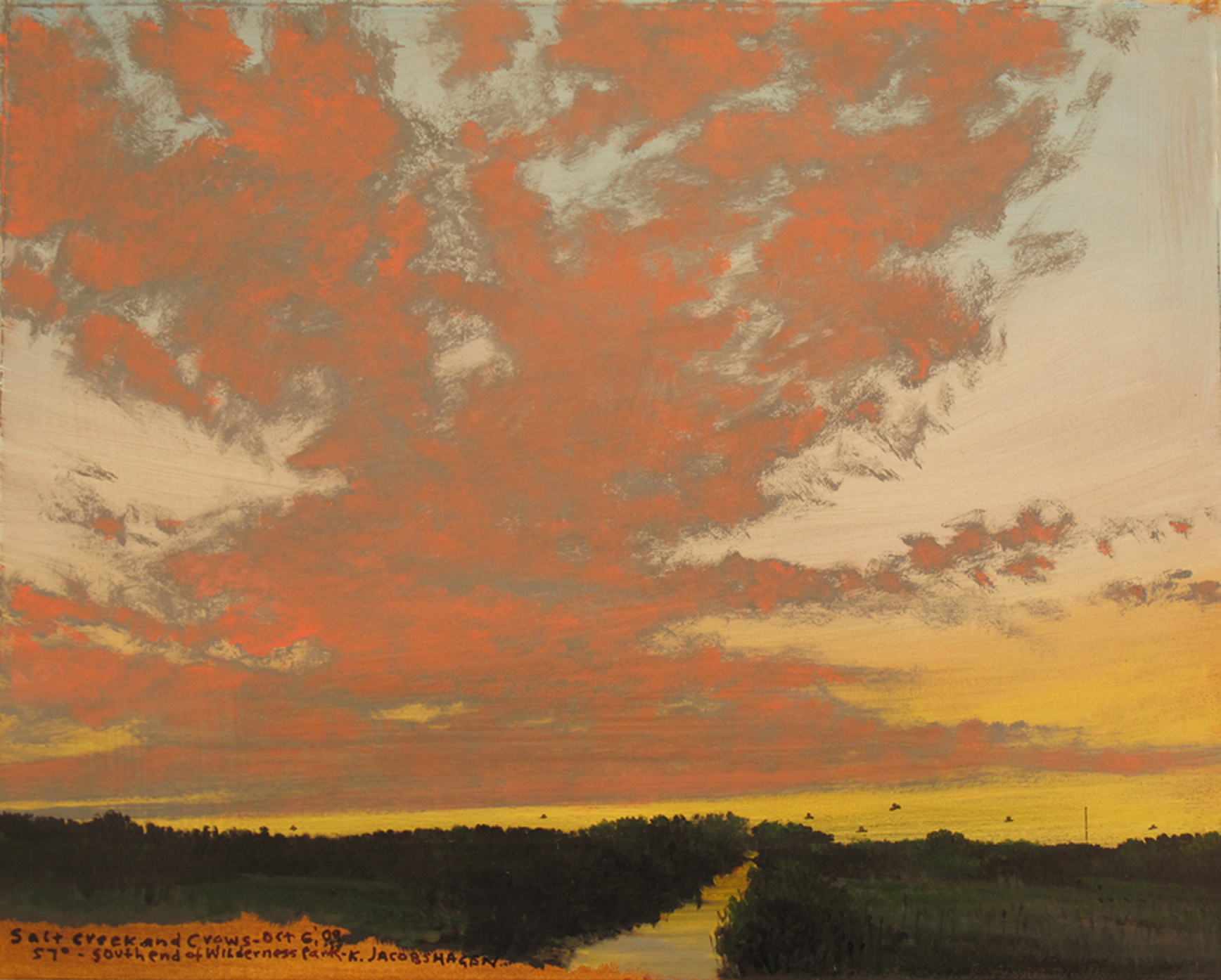 "Keith Jacobshagen, ""Salt Creek and Crows,"" 2009  oil on paper  17 1/4"" x 18 1/2"""