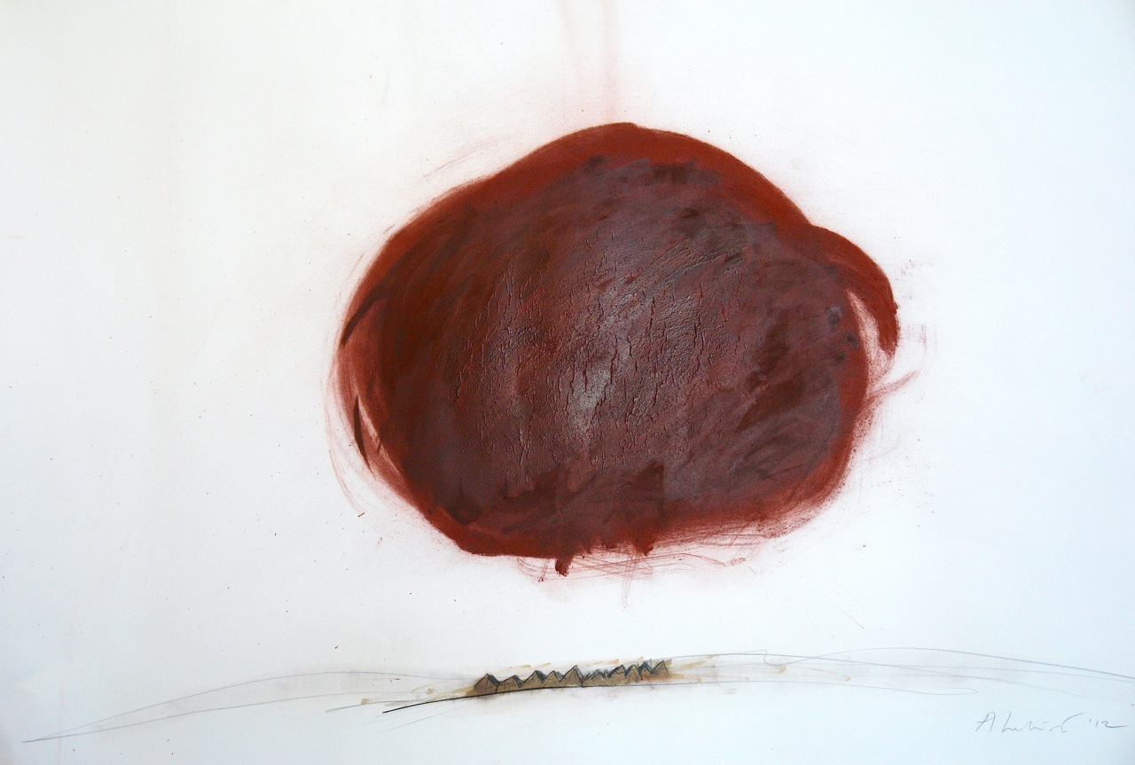"Adrian Luchini, ""Untitled,"" 2012  red pigment, oil, shellac, and graphite on paper  45 1/2"" x 60"""