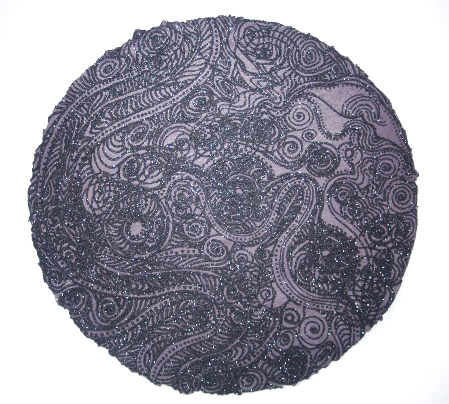 "Christopher Tanner, ""Total Eclipse,"" 2008  mixed media on handmade paper  39"" diameter"