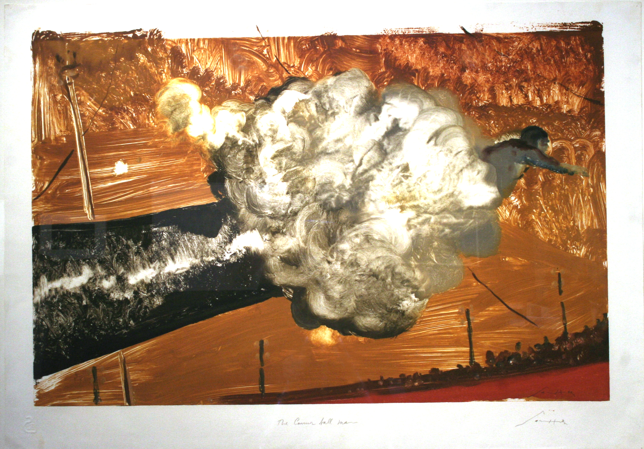 "Julio Larraz, ""The Cannon Ball Man,"" 1989  monotype  30 1/4"" x 42"""