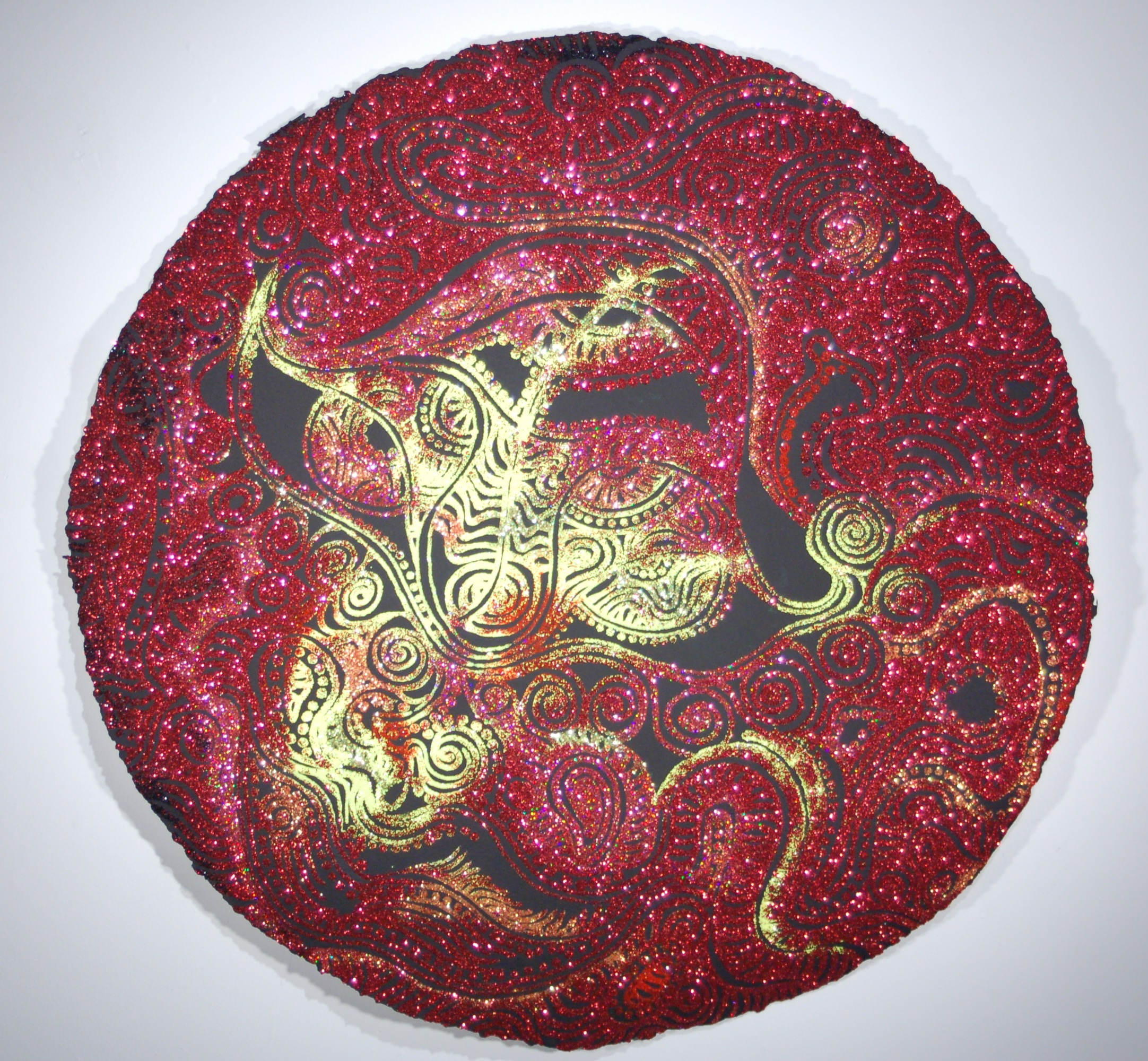 "Christopher Tanner, ""Molten Eclipse,"" 2008  mixed media on paper  36"" diameter"