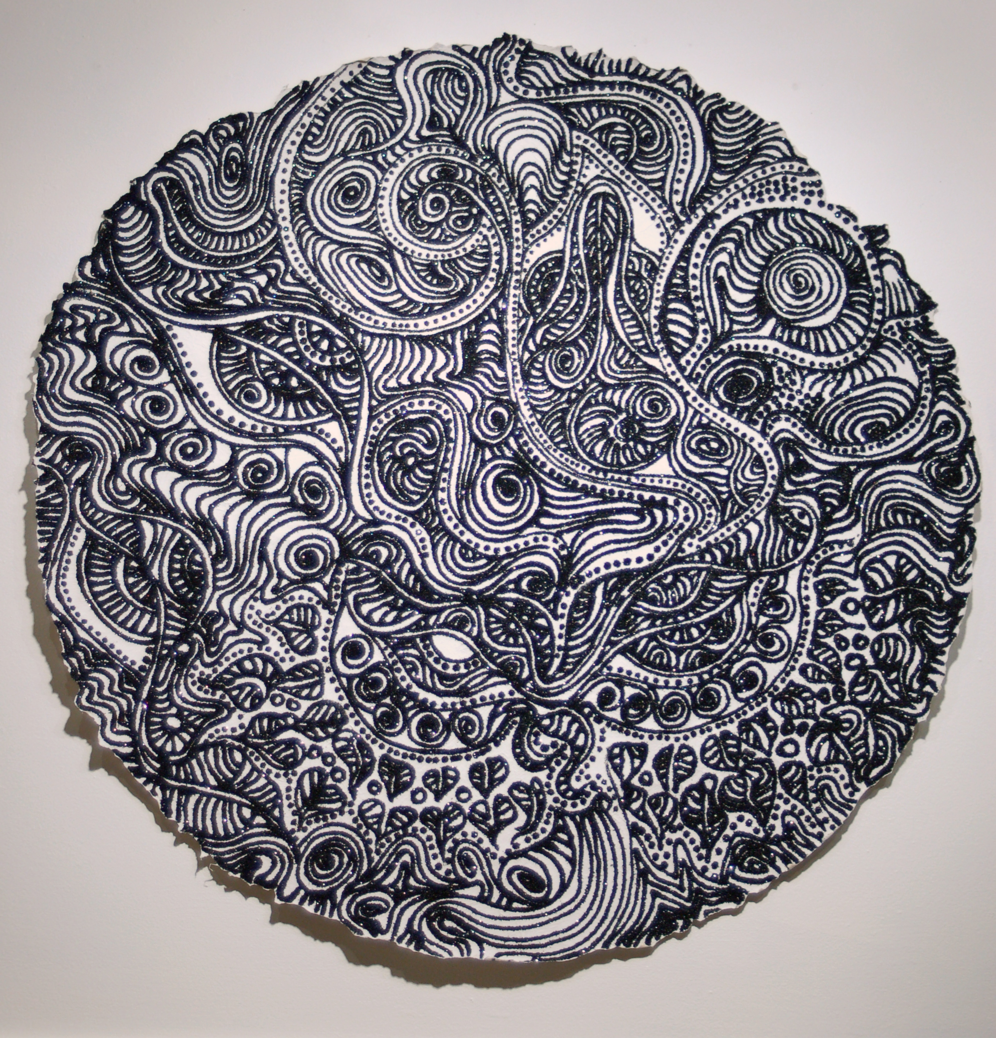 "Christopher Tanner, ""Harvest Moon,"" 2008  mixed media on paper  39 1/2"" diameter"