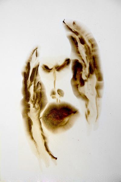 "Study for Despair, 1  , 2012  bitumen of Judea, schellac  25 3/4"" x 21"""