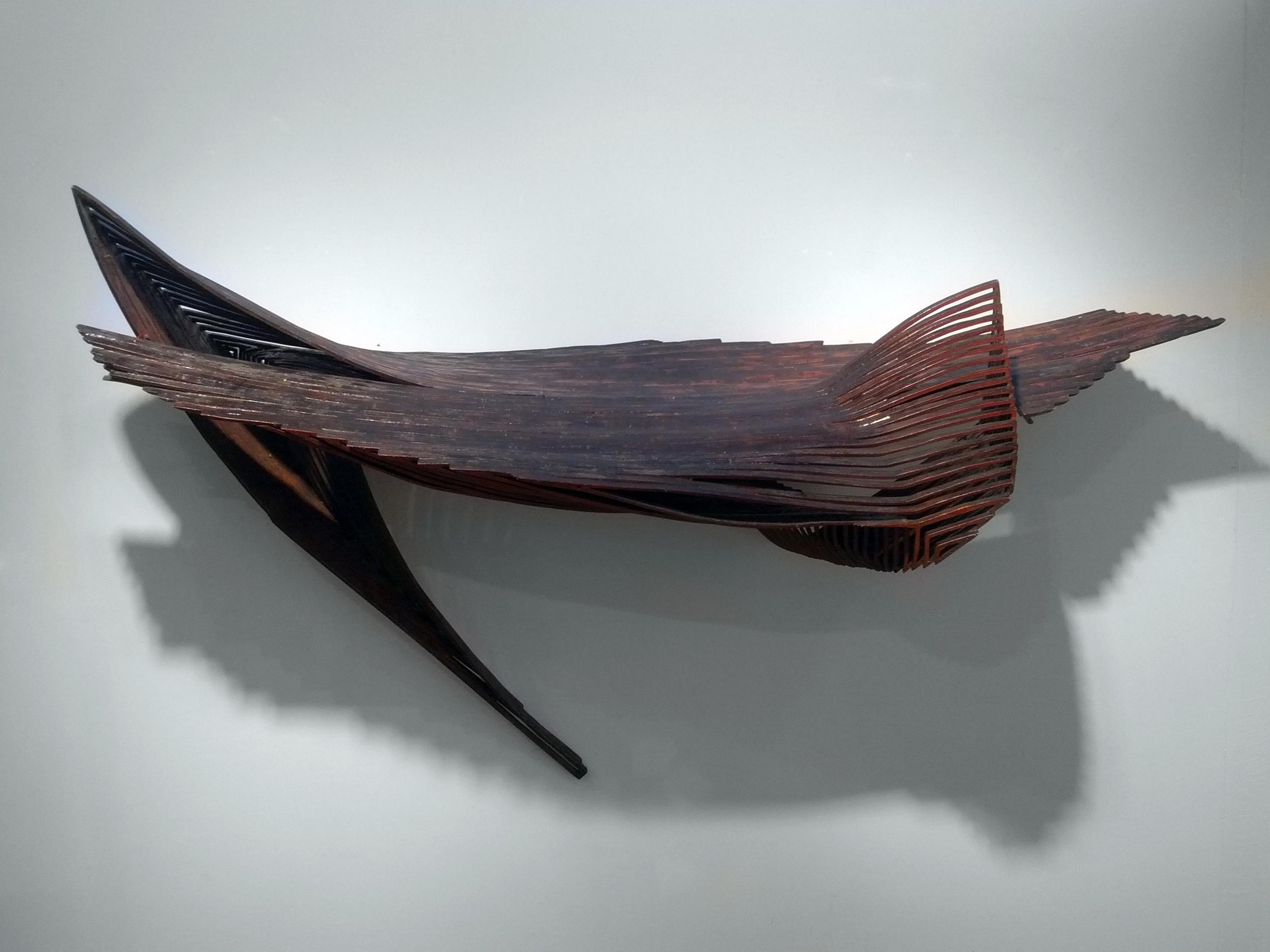 """Jim Nickel, """"Ting,"""" 2001  baltic birch  35"""" x 65"""" x 16"""""""