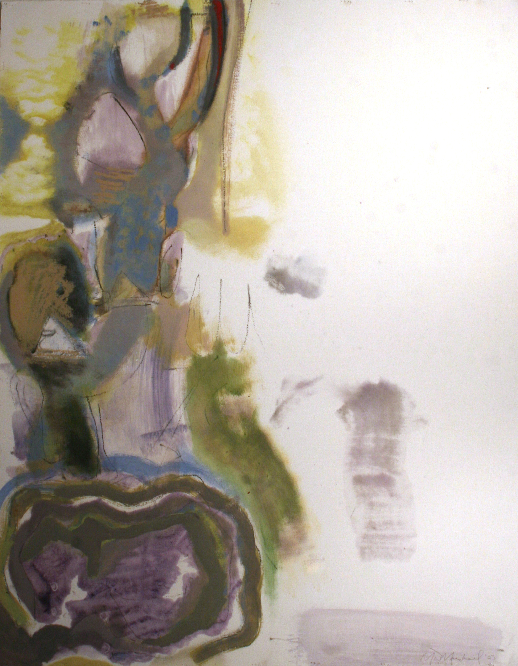 "Untitled  , 2003  oil enamel, oil stick, charcoal  41 1/2"" x 31 7/8"""