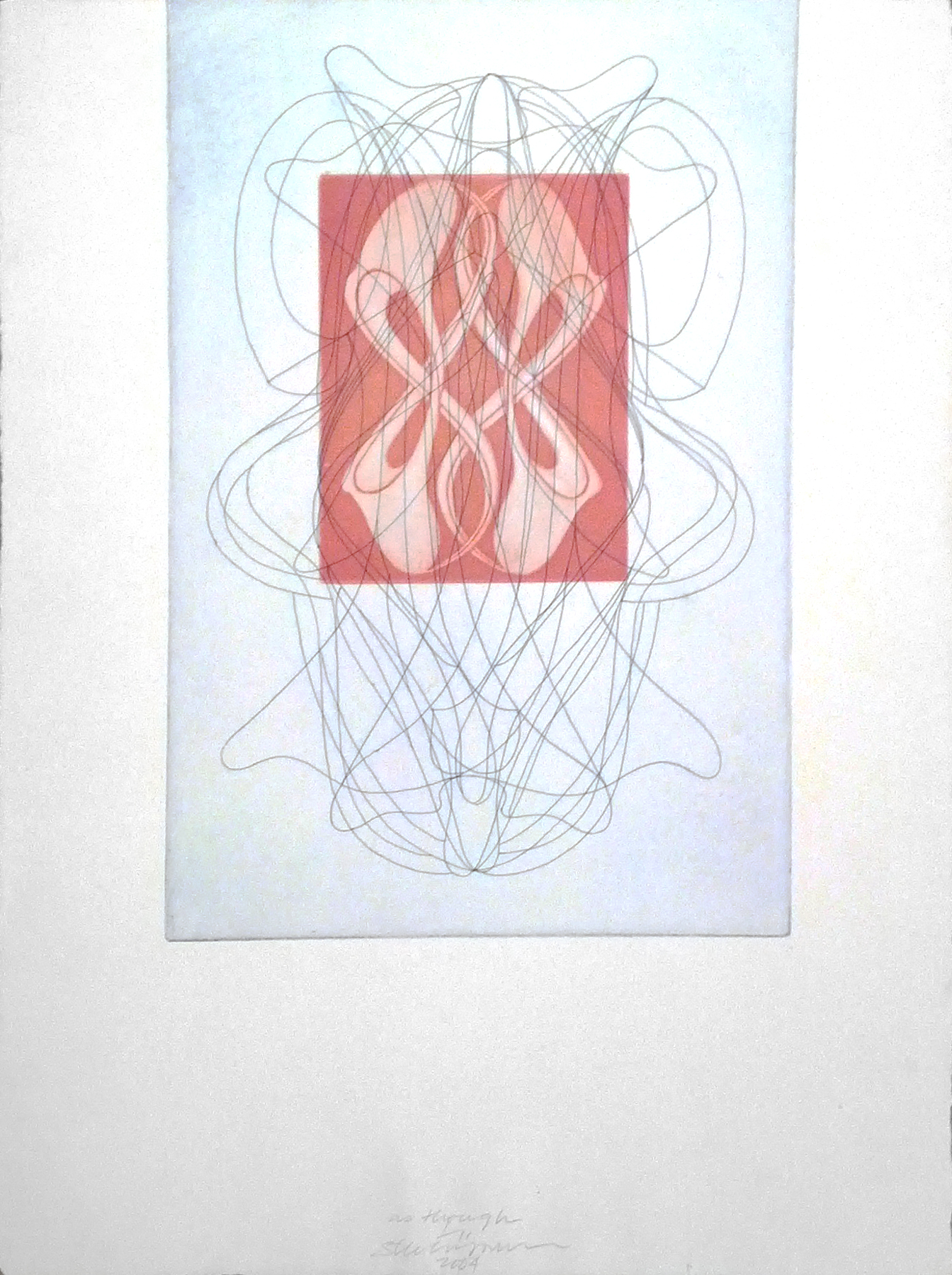 "as though  , 2004  etching, mezzoting, on St. Armand paper, 1/11  24"" x 18"""