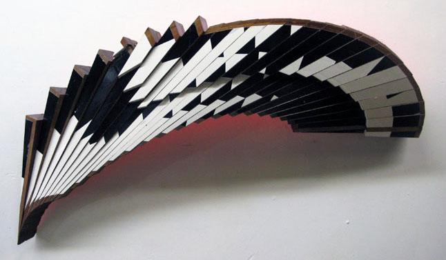 "Jim Nickel, ""Mahogany Venture Piece #37,"" 2013  enamel on african mahogany  19"" x 46"" x 7"""