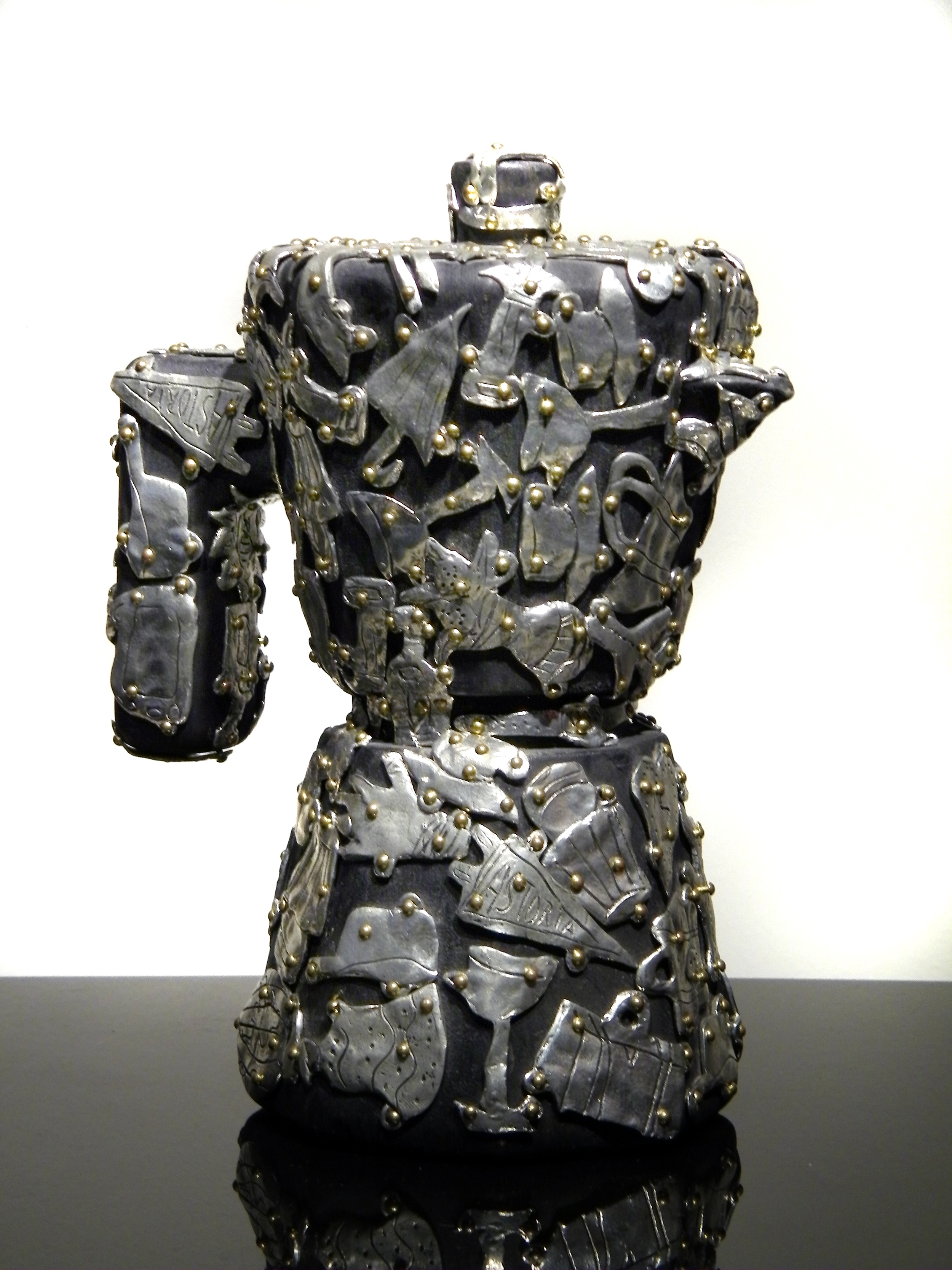 "Claudia DeMonte, ""Female Fetish: Espresso Pot,"" 2001  pewter and brass on wood  8"" x 8"" x 5"""