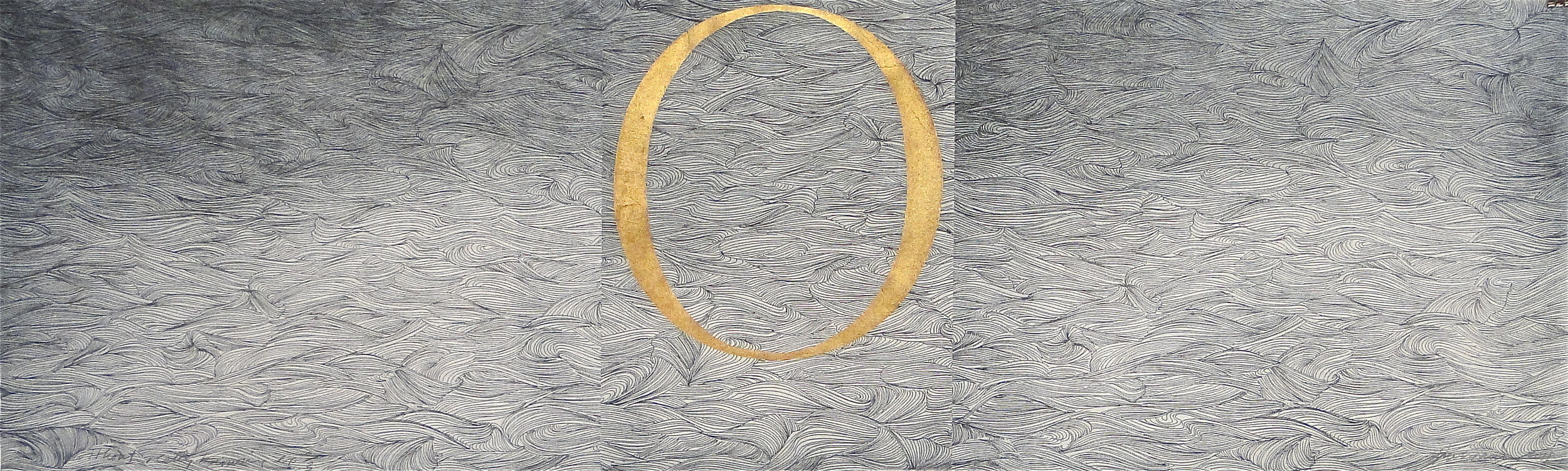 """Steven Sorman, """"without really knowing,"""" 2011  etching, woodcut, with bronze powder  17"""" x 52"""""""