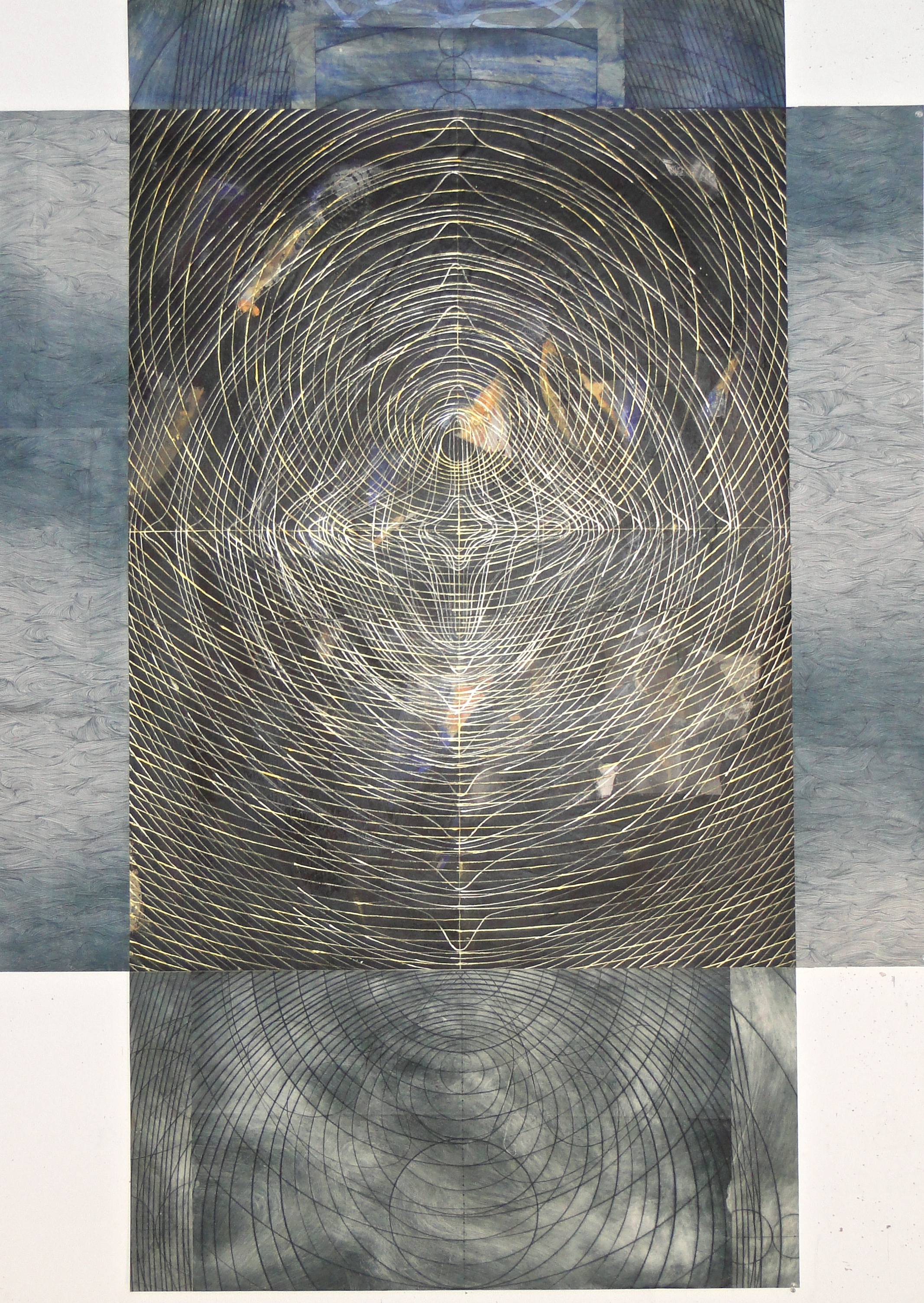 """even so"", 2011  mixed media on drapery sheer and linen  71 3/4""x51 ¾"""