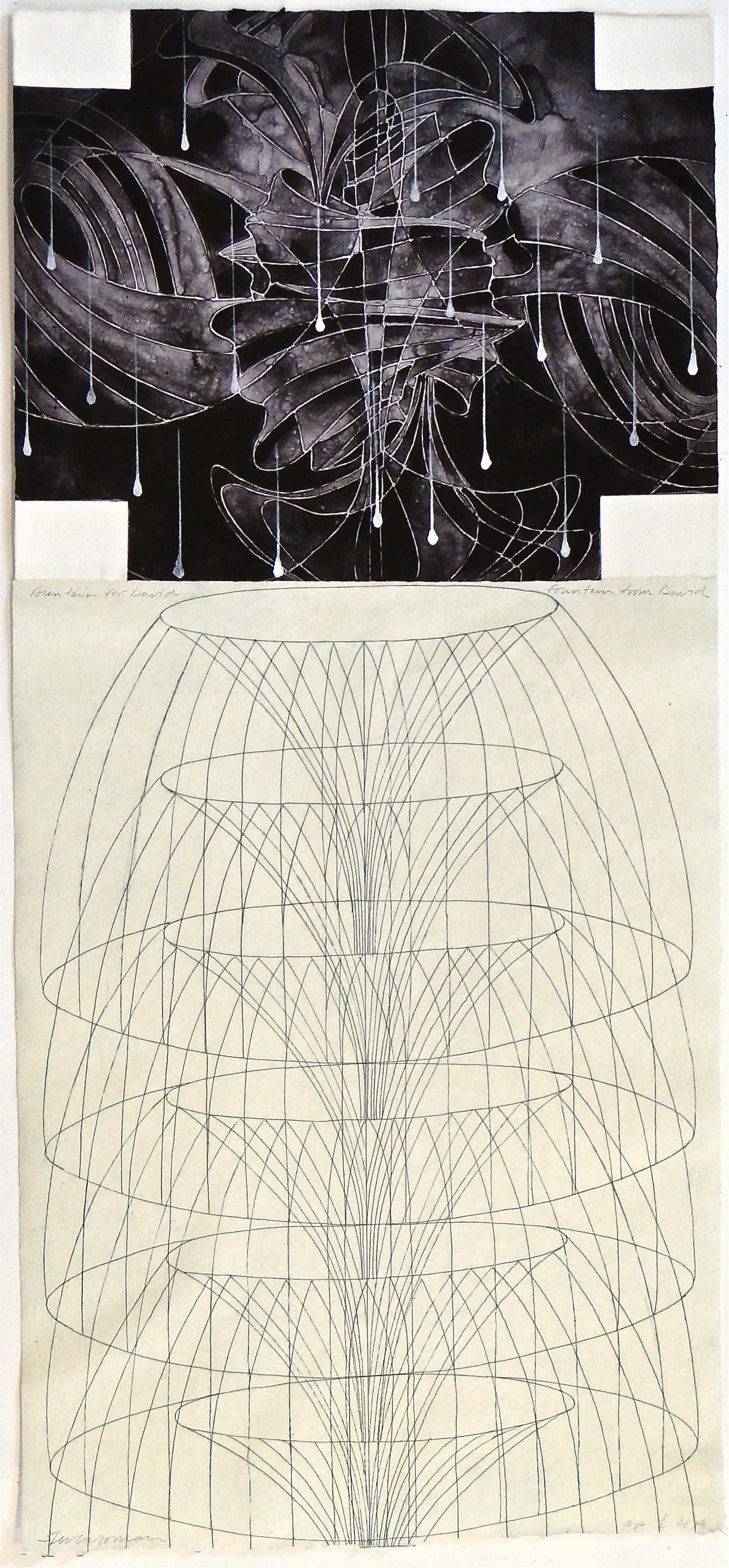 """fountain for David fountain from David"", 2014  photopolymer intaglio, etching, gesso on J Whatman and Bodleian papers  37""x17"""