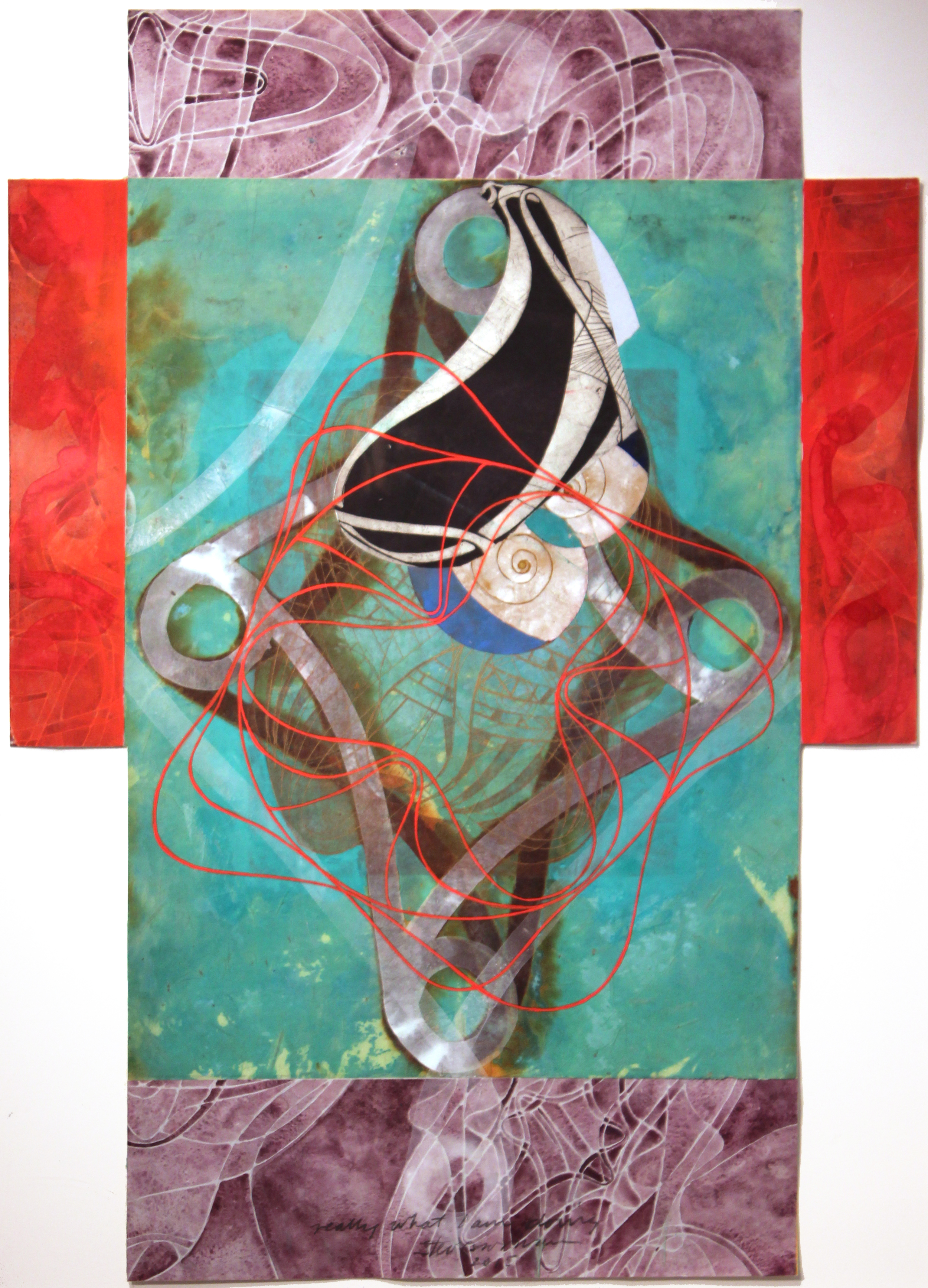 """Steven Sorman, """"really what I am doing,"""" 2015  mixed media, collage on various papers  36"""" x 26 1/2"""""""
